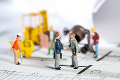 Building site and blueprint stock image