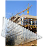 Building site and building plans. Building site with a house and the building plans Royalty Free Stock Photography