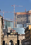 Building site in city center, milano. Garibaldi street with in background a large building site Stock Images