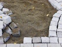 Building site cobblestones road works Stock Photography