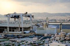 Building Site. The construction site on Acropolis, Athens, Greece Stock Photos