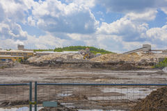 Building site, construction of a new industrial hall Royalty Free Stock Images