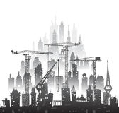 Building site with cranes. City background. Illustration Royalty Free Stock Images