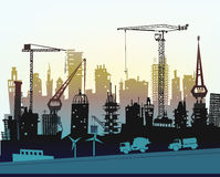 Building site with cranes. City background Royalty Free Stock Photography