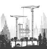 Building site with cranes. City background Stock Photo