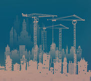Building site with cranes. City background Royalty Free Stock Photos