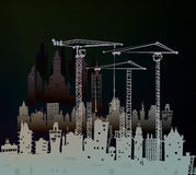 Building site with cranes. City background Stock Image