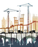 Building site with cranes. City backgroundEaster bunny and eggs background, Sketch Royalty Free Stock Photography