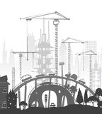 Building site with cranes. City backgroundEaster bunny and eggs background, Sketch. Building site with cranes and cars. City background Stock Photo