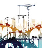 Building site with cranes. City backgroundEaster bunny and eggs background, Sketch. Building site with cranes and cars. City background Royalty Free Stock Photography