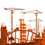 Building site with cranes. City backgroundEaster bunny and eggs background, Sketch Stock Photos