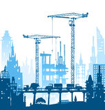 Building site with cranes. City backgroundEaster bunny and eggs background, Sketch Royalty Free Stock Photos
