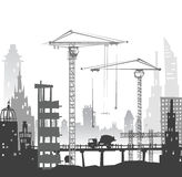 Building site with cranes. City backgroundEaster bunny and eggs background, Sketch Stock Image