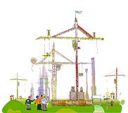 Building site  with cranes City collection Royalty Free Stock Photos
