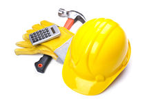 Building site - Hardhat Hammer Gloves Calculator Royalty Free Stock Photography