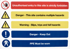 Building Site Health and Safety Warning Signs Royalty Free Stock Photo