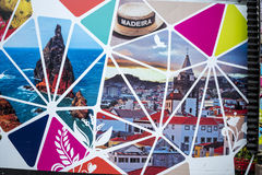Building site Hoarding on the island of Madeira Portugal. Stylish hoarding artwork covering a building site in Funchal Madeira, Portugal stock images
