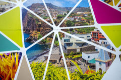 Building site Hoarding on the island of Madeira Portugal. Stylish hoarding artwork covering a building site in Funchal Madeira, Portugal royalty free stock photos