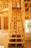 Building Site New Stairs. Stairs to the upper level of a new home royalty free stock photography