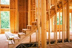 Building Site/ New Stairs. Stairs to the upper level of a new home royalty free stock image