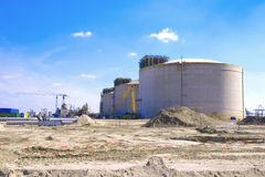 Building site oil silos Royalty Free Stock Photography