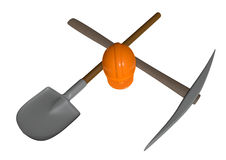 Building site. A orange helmet with shovel and pickax Stock Image