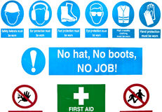 Building site safety. Health and safety warning signs at a building site Royalty Free Stock Image