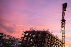 Building site with scaffolding an construction crane Royalty Free Stock Photography