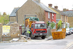 Building site and skips Stock Photo