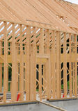 Building site of a wooden house Stock Photos