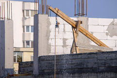 Building site wooden obsolete crane Royalty Free Stock Image