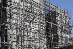 Building Site. A wooden scaffold in Ethiopia royalty free stock photo