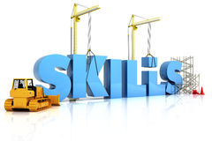Building skills concept. SKILLS word, representing development in sports ,recreation , or work place royalty free illustration