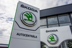 Building of Skoda Auto dealership which is selling and servicing cars of the  company royalty free stock images