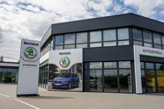 Building of Skoda Auto dealership which is selling and servicing cars of the  company royalty free stock photos