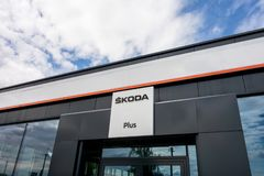 Building of Skoda Plus dealership which is selling used cars stock image