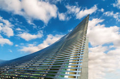 Building in the sky. A modern and futuristic structure stands up to the sky Royalty Free Stock Image