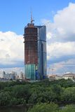 Building of sky-scraper in Moscow Royalty Free Stock Photos