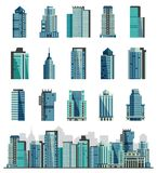 Building skyscraper or city skyline vector set cityscape with business officebuilding of commercial company and build. Architecture to high sky illustration Royalty Free Stock Photography