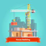 Building of skyscraper house with tower crane Royalty Free Stock Photo