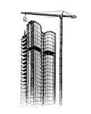 Building skyscraper, sketch. City, construction vector illustration Stock Images