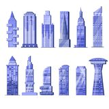 Building skyscraper vector city skyline and business officebuilding of commercial company and build architecture in in Stock Photos