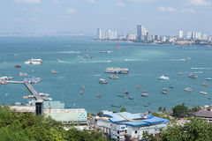 Building and skyscrapers in day time at Pattaya, Thailand. PATTAYA, THAILAND - NOV 29 : The building and skyscrapers in day time on November 29, 2015 in Pattaya Stock Image