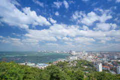 Building and skyscrapers in day time at Pattaya, Thailand. PATTAYA, THAILAND - NOV 29 : The building and skyscrapers in day time on November 29, 2015 in Pattaya Royalty Free Stock Photo
