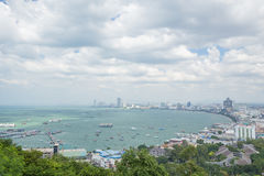 Building and skyscrapers in day time at Pattaya, Thailand. PATTAYA, THAILAND - NOV 29 : The building and skyscrapers in day time on November 29, 2015 in Pattaya Royalty Free Stock Photos