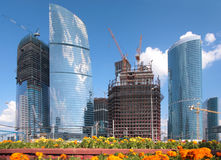 Building of skyscrapers in Moscow Royalty Free Stock Photography