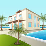 Building a small hotel with sea and palm trees Stock Image