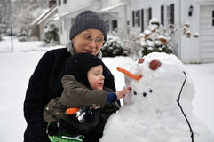 Building a Snowman Stock Photo
