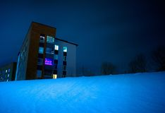 Building in snowy night Stock Photo