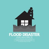 Building Soaking Under Flood Disaster. Vector Illustration Royalty Free Stock Image